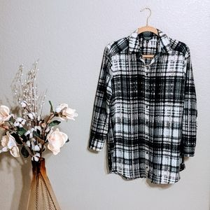 Top Shop Plaid Tunic Length Blouse Sz 6